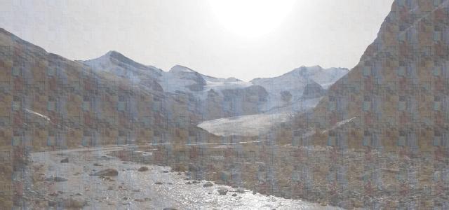 バンフの川と山々