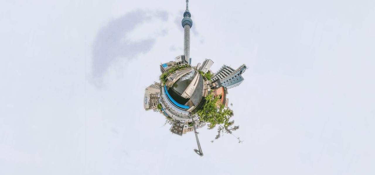 東京の様子を地球のようにしたイメージ!