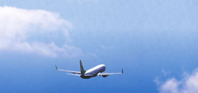 2カ国留学へと飛び立つ飛行機
