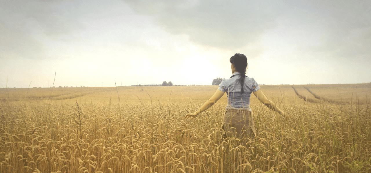 小麦畑の中を歩く外国人女性