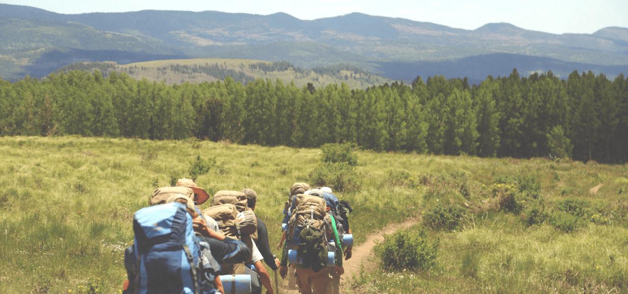 森の中へとトレッキングで入っていく外国人旅行客