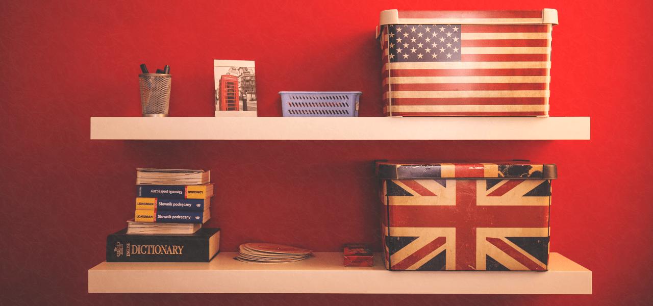 アメリカやイギリスの国旗をモチーフにした箱